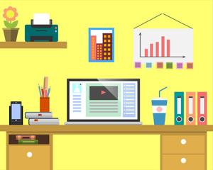Flat workplace Web banner. Flat design businessman illustration workspace, concepts for business, management, strategy, digital marketing, finance, social network, education, training courses, e