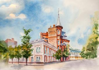 watercolor street sight illustration. Kiev city. Ukraine