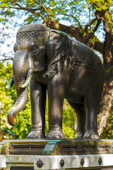 elephant sculpture , cast in metal.