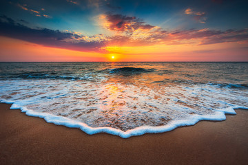 Photo Blinds Beach Beautiful sunrise over the sea