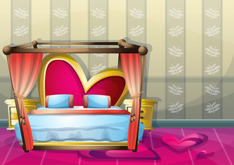 cartoon vector illustration interior valentine room with separated layers in 2d graphic