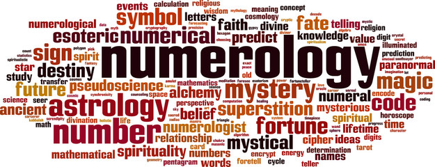 Numerology word cloud concept. Vector illustration