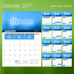 Calendar for 2017 year. Vector design print template with place for photo. Week starts Monday. Set of 12 calendar pages. Stationery design
