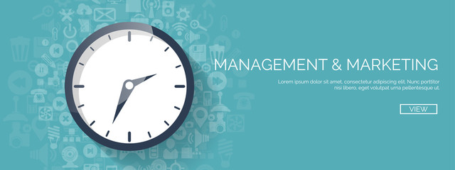 Vector illustration. Clock flat icon. World time concept. Business background. Internet marketing. Daily infographic.