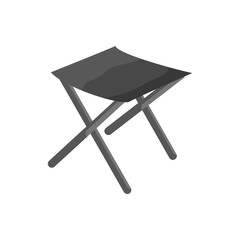Fishing folding chair icon in black monochrome style isolated on white background vector illustration