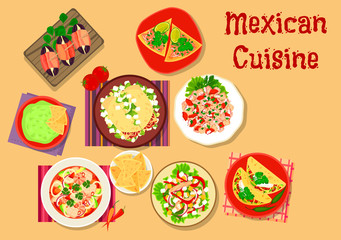 Mexican cuisine spicy snack and salad icon
