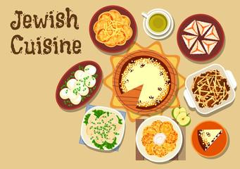Jewish cuisine dinner menu with dessert icon