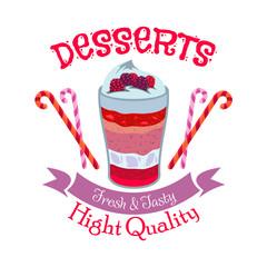 Creamy fruit dessert symbol for cafe menu design