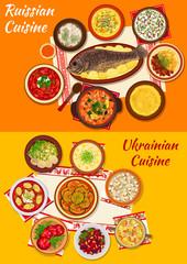 Russian and ukrainian cuisine lunch menu icon