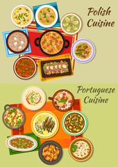 Portuguese and polish cuisine icon for food design