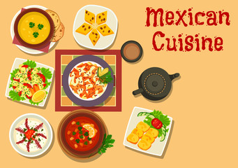 Mexican cuisine authentic dinner dishes icon