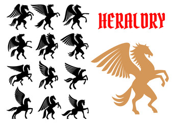 Mythical animals heraldic icons, emblems