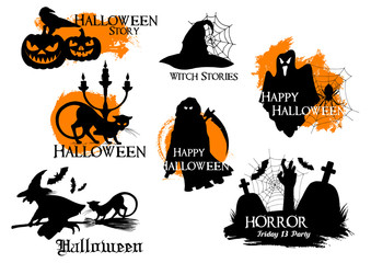 Black silhouette elements for Halloween decoration