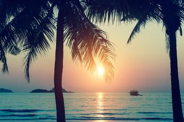 Beautiful sunset on a tropical island.