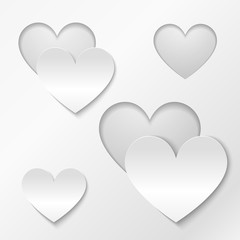Cut out paper hearts Valentines day card