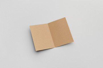 Kraft A6 Bi-Fold / Half-Fold Brochure Mock-Up