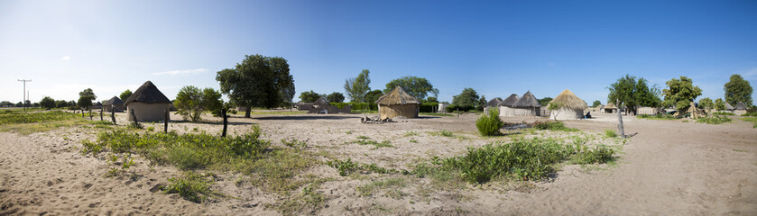 Traditional rural African Himba huts close to Caprivi Strip, Nam
