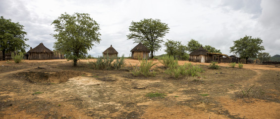 Traditional rural African Himba huts close to Etosha National Pa