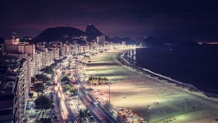 Copacabana Beach at night aerial view, Rio de Janeiro