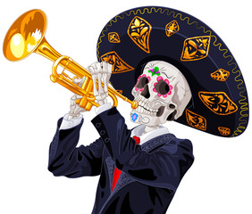 Poster Fairytale World Day of the Dead Trumpet Player