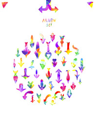 Colorful watercolor arrows isolated