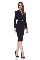 Beautiful sexy brunette woman business office style fashion