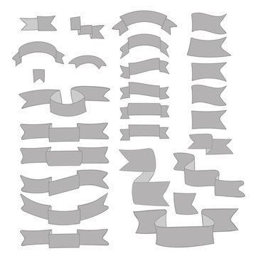 Gray ribbons, big set of hand drawn design elements: flag, banner, label, mark isolated on white. Sketch ribbon with empty space for title writing. Doodle collection. Vector.