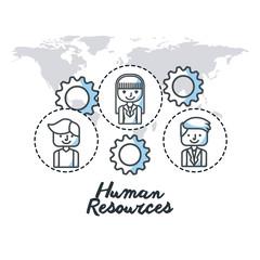 human resources flat line icons vector illustration design