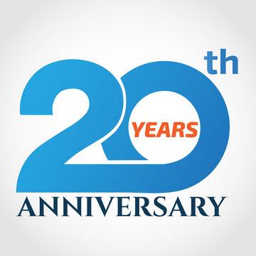 20 years anniversary logo design template