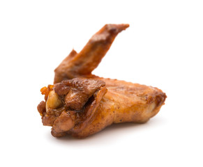 baked in soy sauce chicken wings on a white background