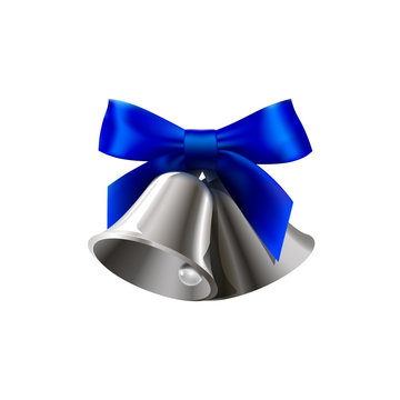realistic silver two bell with blue bow