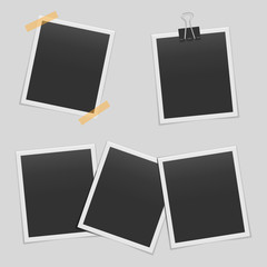 Set of blank realistic photo frames mockup