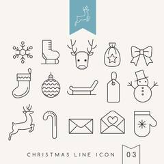 Outlined Christmas Elements : Vector Illustration