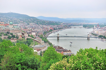 Panorama of of Budapest and the Danube River as Seen from Geller