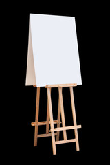 wooden easel with blank board isolated on black background