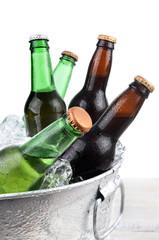 Beer Bottles in Ice Bucket Closeup