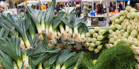 Fresh leeks and fennel at a California farmers market. Farm to table
