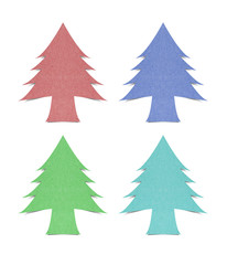 Christmas tree recycled paper craft on white background