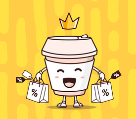 Vector illustration of color smile takeaway coffee cup with shop