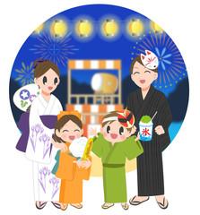 家族でお祭り