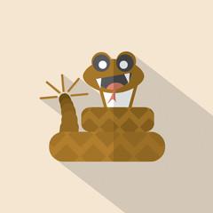 Modern Flat Design Rattlesnake Icon Vector Illustration