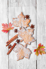 Cookies in the shape of maple leaf
