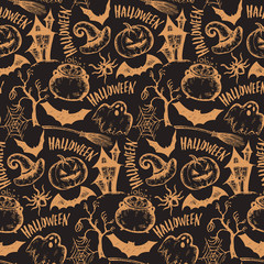 Vector seamless pattern with sketch Halloween characters