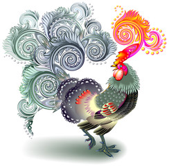 Illustration of beautiful fantasy rooster on white background, vector cartoon image.