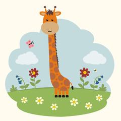 Cartoon giraffe on flowers field. Cute giraffe and flowers.