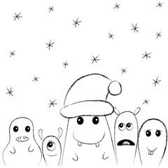 Cute monsters under snowflakes