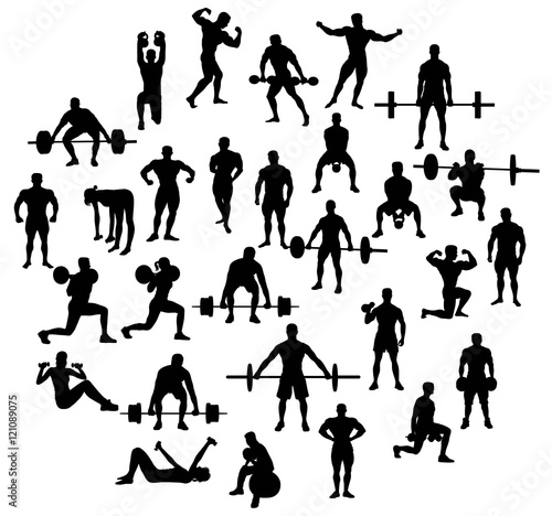 """""""Sport Activities Silhouette Of Weightlifting And"""