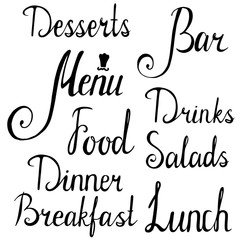 hand drawn lettering isolated. menu breakfast lunch dinner food salads drinks bar desserts inscriptions.