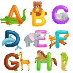 Cute cartoon animals alphabet for children education. Vector illustrations