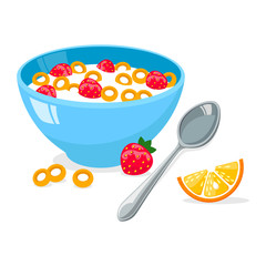 tasty cornflakes in blue bowl with spoon and strawberry and orange. A healthy and wholesome breakfast. Vector illustration isolated on white background.